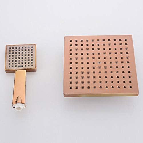 BINGSL Conjunto de Ducha de ba/ño de Oro Rosa montado en la Pared 8grifos de Ducha Tipo Lluvia Grifo Mezclador 3 Funciones v/álvula Mezclador Cabeza Cuadrada 062