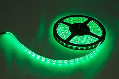 CMC LED Light Strip Lamp Green Waterproof Strip Indoor Outdoor LED Strip Lights SMD 2835 16.4Ft 5M 300leds Flexible Rope Lighting Tape Lights for DC 12V Battery Solar Adapter Transformer Power