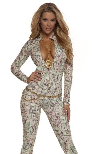 Forplay Women's Money Print Zipfront Catsuit, Cream, Large/X-Large