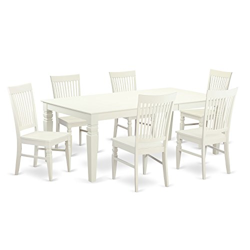 East West Furniture LGWE7-LWH-W 7 Piece Dining Table Set with One Logan Table and Six Dining Room Chairs in Linen White Finish