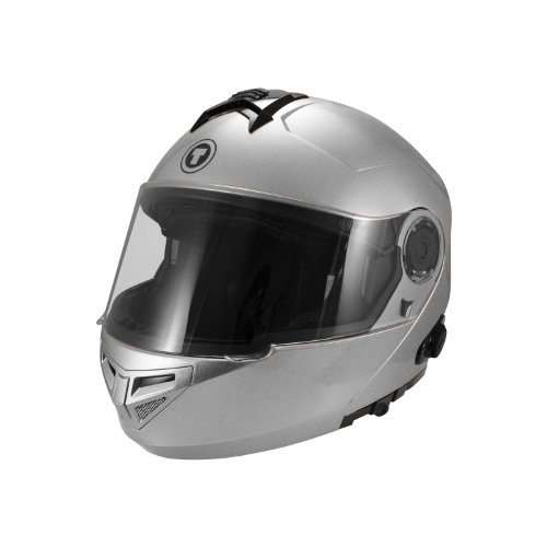 TORC T27 Full Face Modular Helmet with Integrated Blinc Bluetooth (Silver, Large)