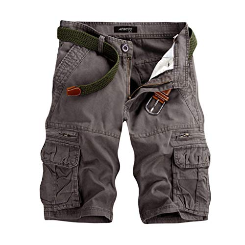 (Ratoop Men's Casual Pure Color Outdoors Pocket Beach Work Trouser Cargo Shorts Pant Gray)