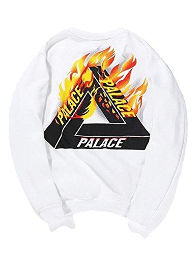 Baguet Men Fleece Jacket Hip Hop Hoodie Printing Pullover Sweatshirt Streetwear,Pure White Medium