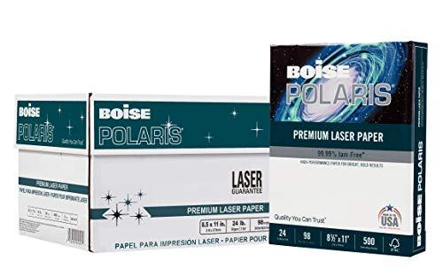 BOISE POLARIS Premium Laser Paper, 8.5 x 11, 98 Bright White, 24 lb, 8 ream carton (4,000 Sheets)