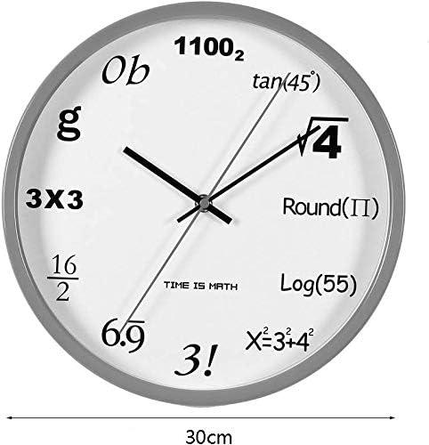 オフィスキッチンリビングルームの壁時計サイレント非カチカチ時計、12インチ(色:シルバー)