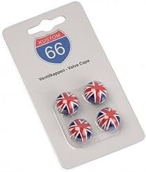 KUSTOM66 4er Set Ventilkappen Flagge UK rund