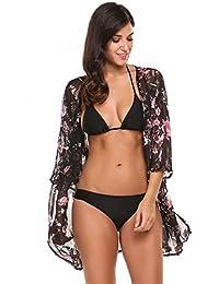 Meaneor Women's Cover Up Kimono Beach Swimwear Bikini Chiffon Boho Floral Cardigan