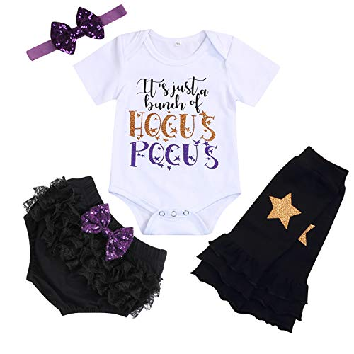 Halloween Birthday Outfits (Baby Girls Halloween Outfits Toddler Funny Letter Print Short Sleeve Romper+Diaper Cover+Headband+Leg Warmers Clothes Set (White, 6-12)
