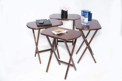 Tray Table Set of 4 with Stand Portable Snack Eating Rustic Farmhouse Folding eBook