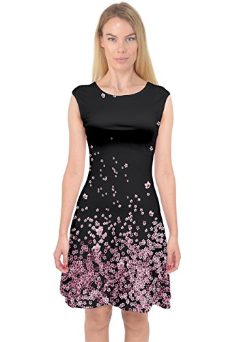 PattyCandy Womens Dark Pink Cherry Blossom Night Capsleeve Midi Dress,Pink-M