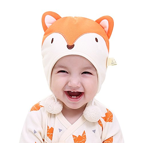 pureborn Baby Fox Hat Pompom Hat Newborn Infant Beanies Cap Cotton Soft Cute for Baby Boys Girls Orange 6-15 Months