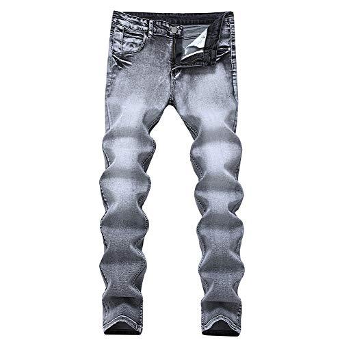 Versaces Hombres Jeans Slim Fit Gris Claro Elasticidad Heterosexual Cintura Media Pantalones Gray