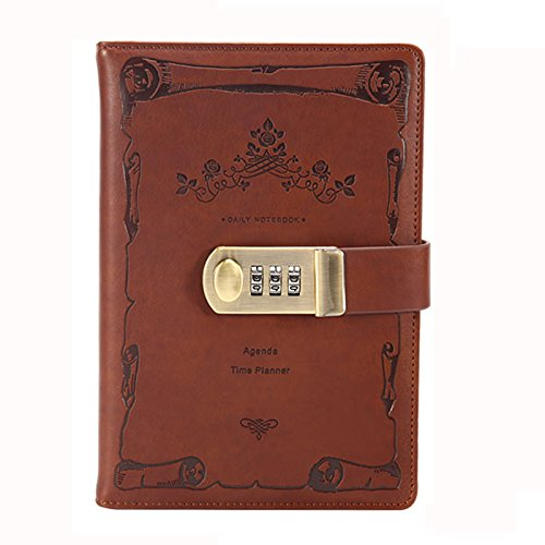 Ai-life Retro Vintage PU Leather Password Notebook, Wire Binding Dairy Memos Planner Organizer Notepad Secret Lined Password Diary Sketchbook with Combination Lock Pen Holder, - Combination Memo Holder