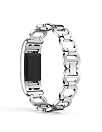Fitbit Charge 2 Watch Band, ABC Luxury Genuine Stainless Steel Watch Band Strap (Sliver)