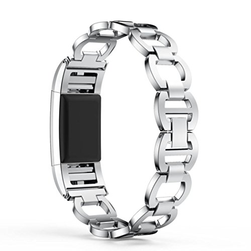 Alonea Genuine Stainless Steel Bracelet Smart Watch Band Strap For Fitbit Charge 2 (Sliver)