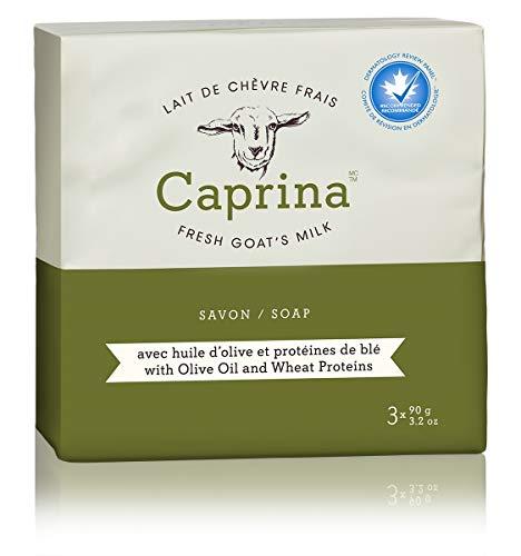 Caprina by Canus Fresh Goat's Milk Soap Bar, Olive Oil & Wheat Proteins, 3.2 Ounce Bar, 3 Bars - Goats Milk Olive Oil