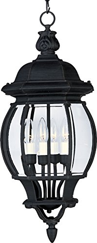 Maxim 1039BK Crown Hill 4-Light Outdoor Hanging Lantern, Black Finish, Clear Glass, CA Incandescent Incandescent Bulb , 60W Max., Dry Safety Rating, Standard Dimmable, Frosted Glass Shade Material, Rated Lumens
