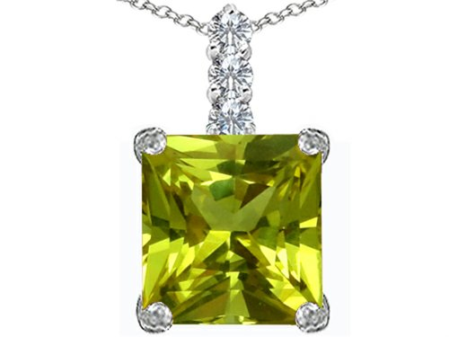 (Star K Large 12mm Square Cut Simulated Peridot and Cubic Zirconia Pendant Necklace Sterling Silver)