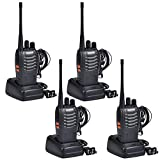 Baofeng Walkie Talkies Rechargable Long Range Walkie Talkie for Adults Two Way Radio Set 16 Channel 5 km Range 400-470MHz Handheld Walky Talky Transceiver with Batteries Earpiece (Pack of 4)