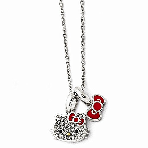 Hello Kitty Sterling Silver Crystal/Enamel Red Bow Collection Necklace