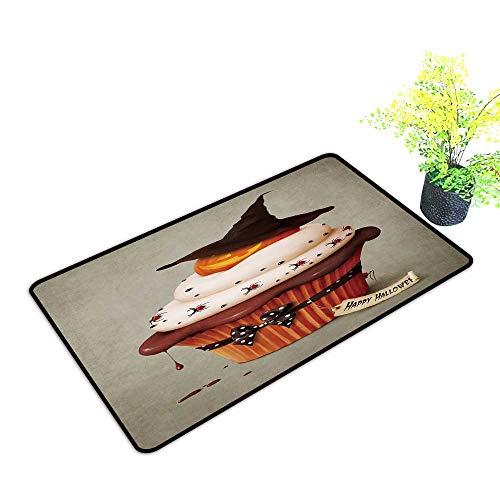 gmnalahome Super Absorbs Mud Doormat Halloween Cake,Holiday Greeting Card. No Odor Durable Anti-Slip W21 x H11 -