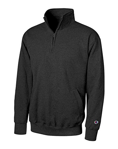 Champion Eco Fleece 1/4 Zip Pullover, Black, Small ()