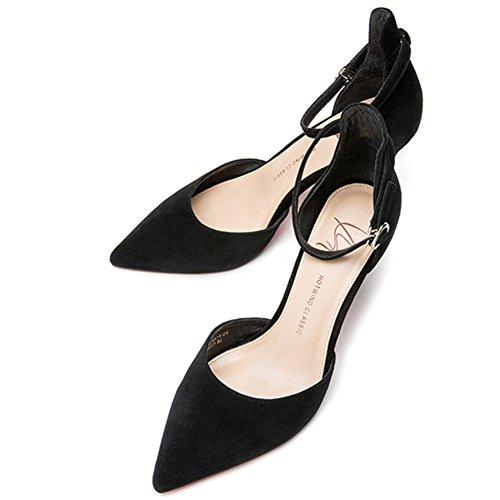 Printemps Été Profond De H04w8514 Bouche Élégant Talons Et Mesdames Amende Sunny Black Hauts Peu Chaussure Talon 5Aqtx4t