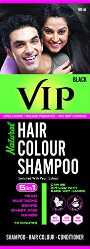 VCARE VIP NATURAL HAIR COLOUR SHAMPOO BLACK - 3 IN 1 SHAMPOO HAIR COLOUR CONDITIONER - 180ml
