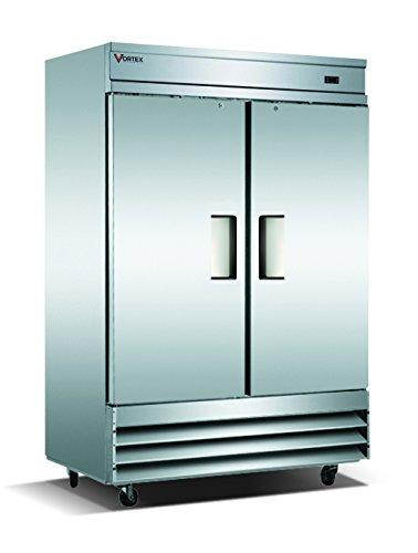 Vortex Refrigeration Commercial Heavy Duty 2 Solid Door Refrigerator - 49 Cu. Ft.
