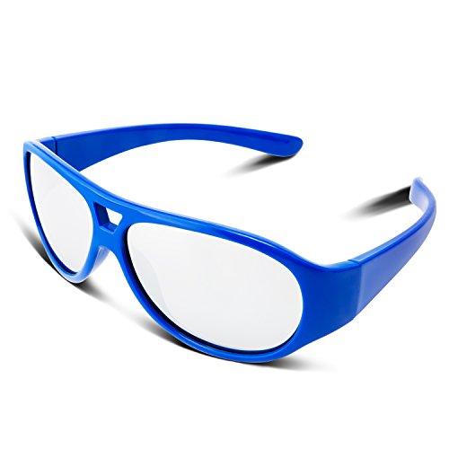 RIVBOS RBK031 Rubber Flexible Kids Polarized Sunglasses Glasses Age 3-10 (Blue Coating Lens)