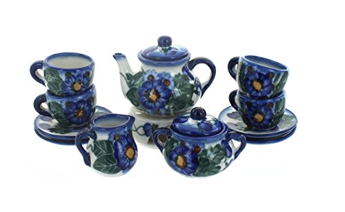 Blue Rose Polish Pottery Forget Me Not Miniature Tea Set (Polish Pottery Miniature Tea Set)