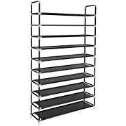 SONGMICS 10 Tiers Shoe Rack 50 Pairs Non-woven Fabric Shoe Tower Organizer Cabinet Black 39 3/8