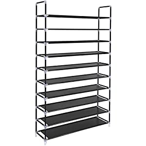 SONGMICS 10 Tiers Shoe Rack 50 Pairs Non-Woven Fabric Shoe Tower