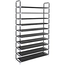 "SONGMICS 10 Tiers Shoe Rack 50 Pairs Non-woven Fabric Shoe Tower Organizer Cabinet Black 39 3/8"" x 11 3/8"" x 68 7/8"" ULSH11H"