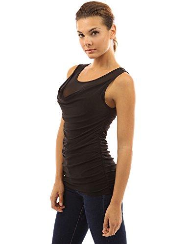 PattyBoutik Mujer camiseta cuello drapeado inserción frontal de malla blusa negro
