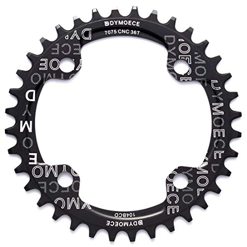 Dymoece Narrow Wide Bike Single Chainring 104BCD 32T 34T 36T 38T for 9 10 11 Speed Round,Black/Red-Compatible with Most of Shimano and Sram Cranksets