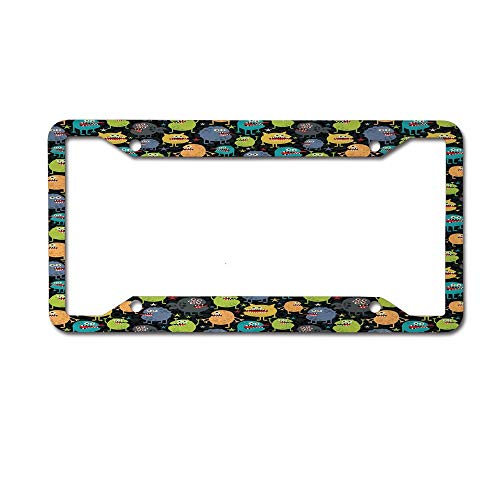 Dinzisalugg Custom Aluminum Metal License Plate Frame Tag Holder Cute,Cute Funny Characters Cartoon Style Halloween Themed Monsters Abstract Background License Plate Frame 4 Holes and Screws]()