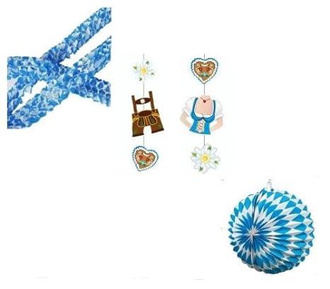 "PS 2 Mini Girlanden Papier /""Bayrisch Blau/"" Ø 8cm x 2 m Deko Oktoberfest"