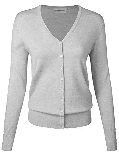 MAYSIX APPAREL Long Sleeve Button Down V-Neck Knit Sweater Cardigan For Women LIGHTHEATHERGRAY S ()