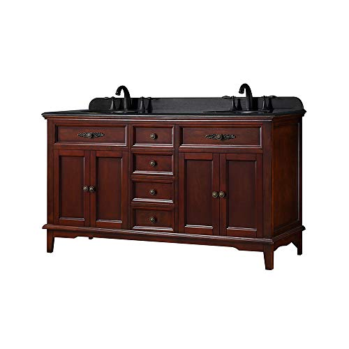 Ove Decors Doncaster 60 Dark Cherry Double Sink Vanity with Black Granite Top ()