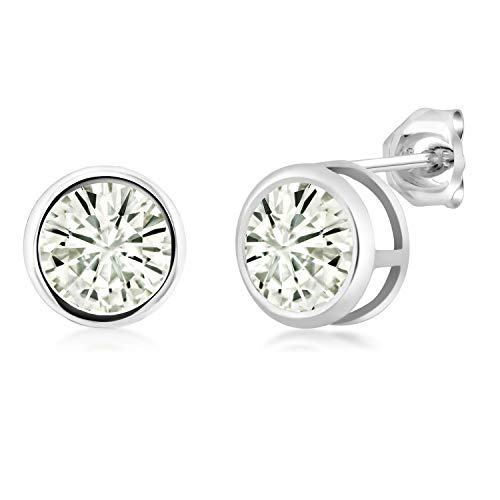925 Sterling Silver Stud Earrings Forever Classic Round 2.00ct (DEW) Created Moissanite by Charles & Colvard (Moissanite 2 Stone)