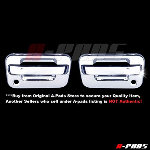(A-PADS 2 Chrome Door Handle Covers for Ford F150 2004-2014 - WITH Passenger Keyhole & WITHOUT Keypad [NOT for Heritage])