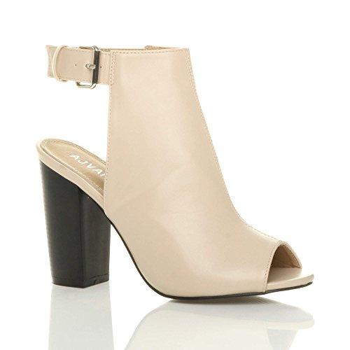 Ajvani Damen Hoch Absatz Peep Toe Ausgeschnitten Schnalle Schuh Steifeletten Größe Beige