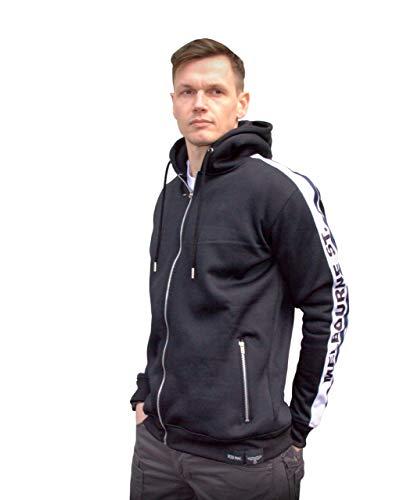 ROB MAC Melbourne ST. Hoodies for Men - Black Hoodie with Zip Up Zipper - Cool Designer Sweatshirt - Large