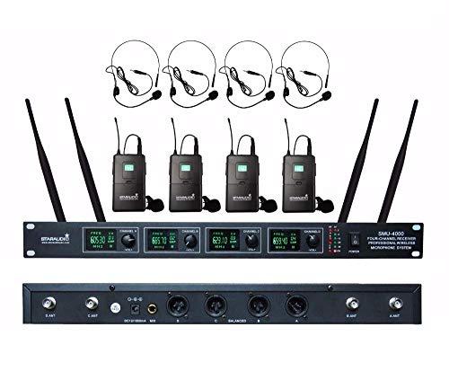STARAUDIO Pro DJ Stage Club Dynamic Wireless Party Karaoke KTV Headset Lapels Church 4CH UHF Wireless Microphone System Mic For Home party Show School Play (Pro Dj Club Stage)