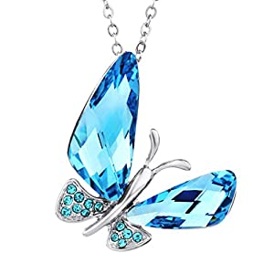 NEOGLORY Jewelry Auden Rhinestone Blue Butterfly Pendant Necklace for Women Embellished with Crystals from Swarovski