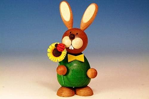Osterhase stehend mit Sonnenblume  12,0cm NEU Osterfigur Holz Erzgebirge Ostern