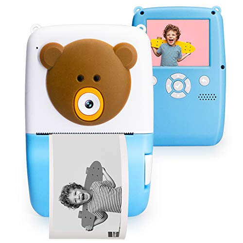 CrazyFire Instant Camera for Kids,Zink Zero Ink Kids Poloroid Camera with Print Paper,Puzzle Game,Kids Digital Camera with 1080P HD Video,Gift and Toy for Boys and Girls