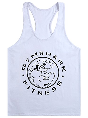 MITIAO Men's GYM Shark Fitness Printed Stringer Bodybuilding Tank Top White L