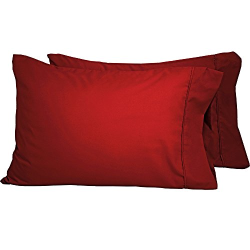 Premium 1800 Ultra-Soft Microfiber Pillowcase Set - Double Brushed - Hypoallergenic - Wrinkle Resistant (King Pillowcase Set of 2, Red)